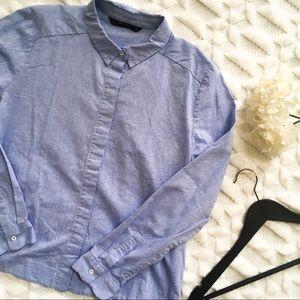 Zara Blue Button Up Shirt with Scallop Hem